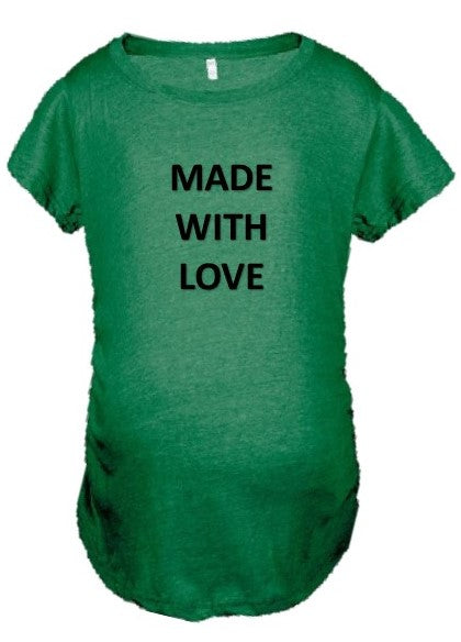 Heather Green Scrunched Sides Maternity Tee - Made With Love