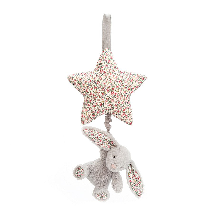 Jellycat Blossom Silver Bunny Musical Pull  (28cm)