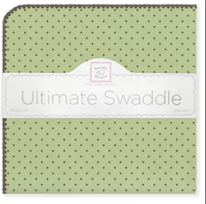 Swaddle Designs Ultimate Receiving Blanket Solid Pastel With Brown Dots