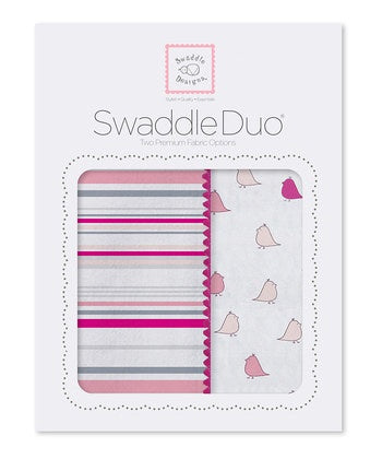 Swaddle Designs Swaddle Duo Sterling Stripes & Little Chickies