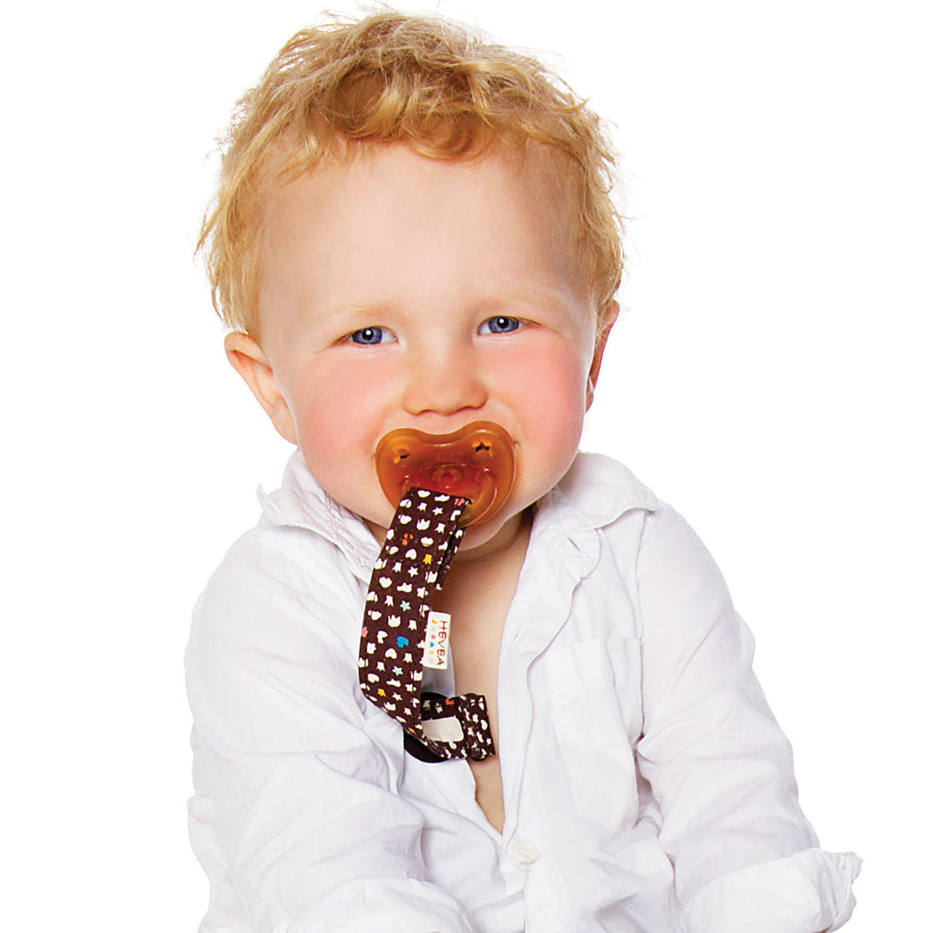 Hevea Pacifier Holder Brown