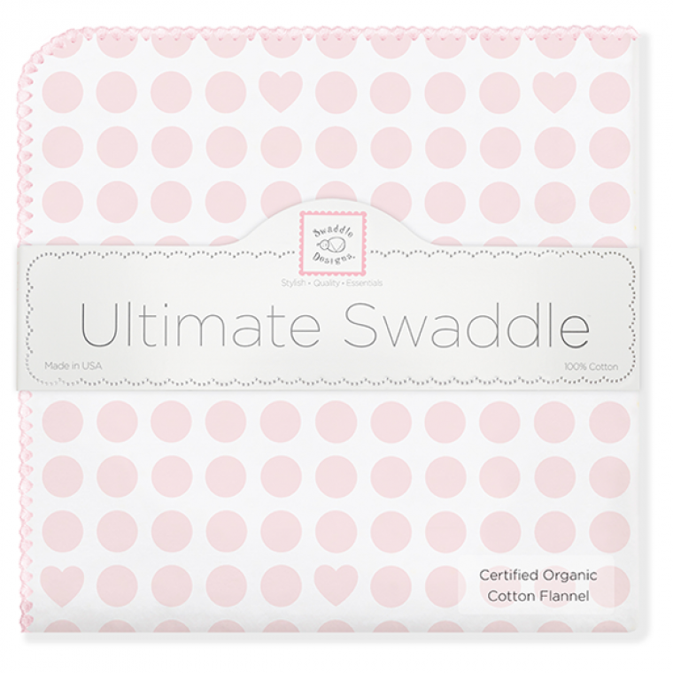 Swaddle Designs Organic Receiving Blanket Pastel Pink Dots & Hearts With Paster Pink Trim