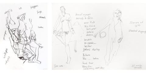 [Left: Life drawing by Laura Adamson. Right: 'Bra of my Own' life drawing by Angela Hodgson Teall.]