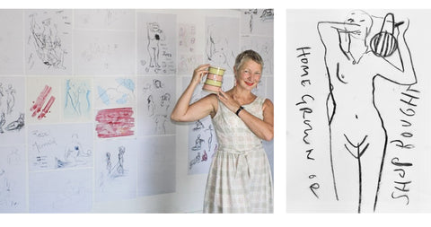 [Left: Claire at the exhibition of drawings following Southend performance of Truth is Beauty, 2018. Right: Life drawing by Lucie Russell - @Drawing.People.Together.]