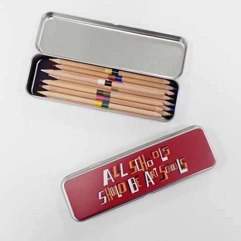 All Schools Should Be Art Schools Pencil Tin with 12 double-ended colour pencils