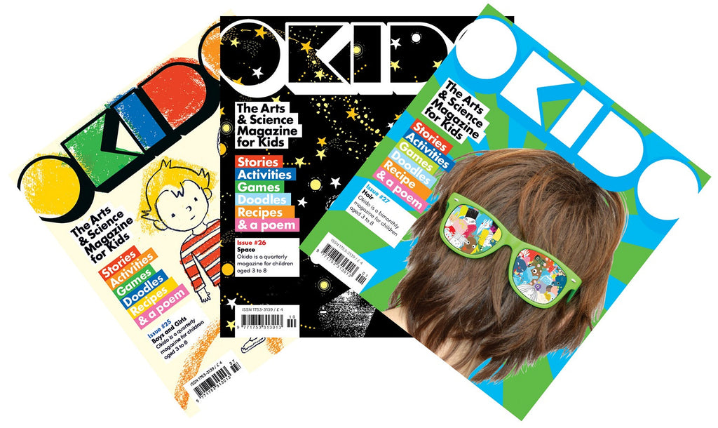 OKIDO magazine bundle - Issues: 25 - boys and girls / 26 - space / 27 - hair