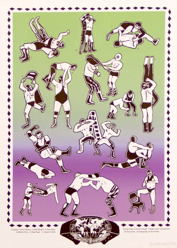 Alex Brady - Wrestling moves Giclée print