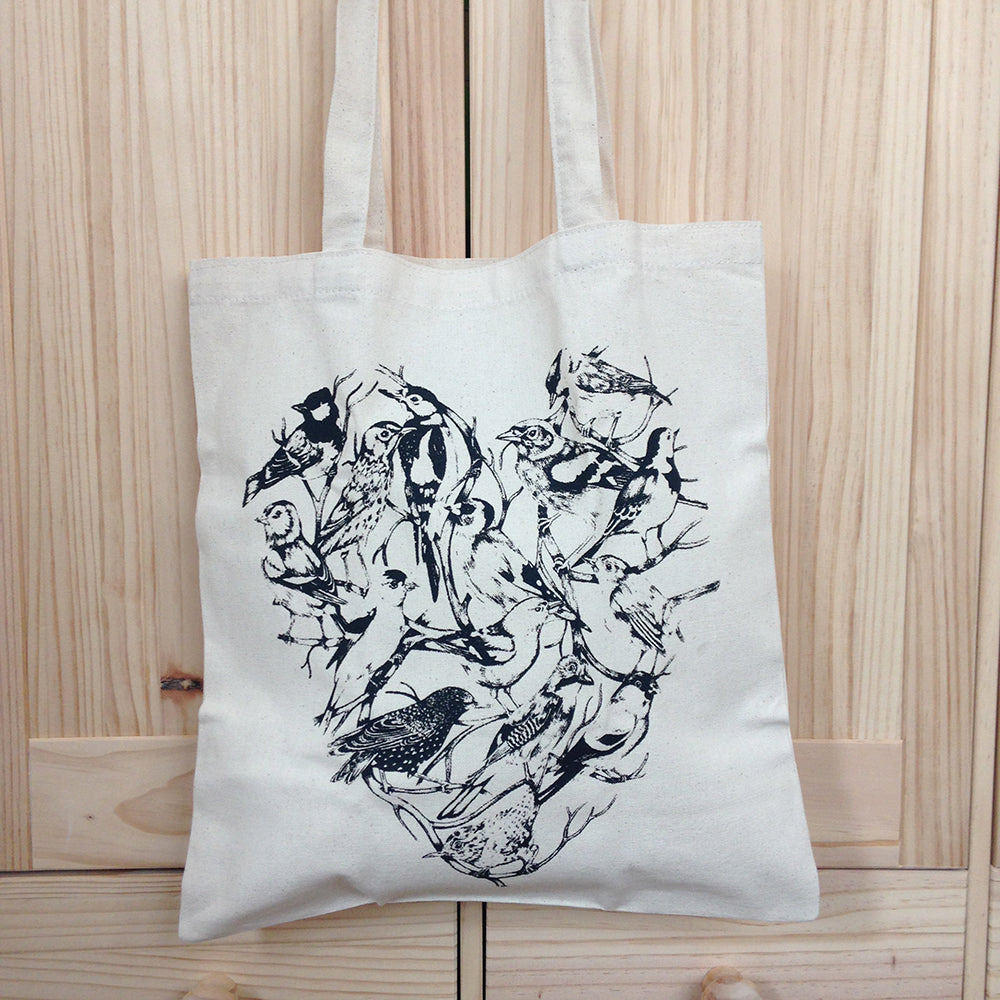 Bird Heart Tote Bag by Katharina Illustration