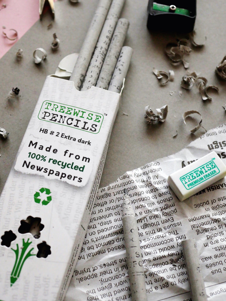 HB#2 Graphite Recycled Newspaper Pencils by Treewise / Pack of 10