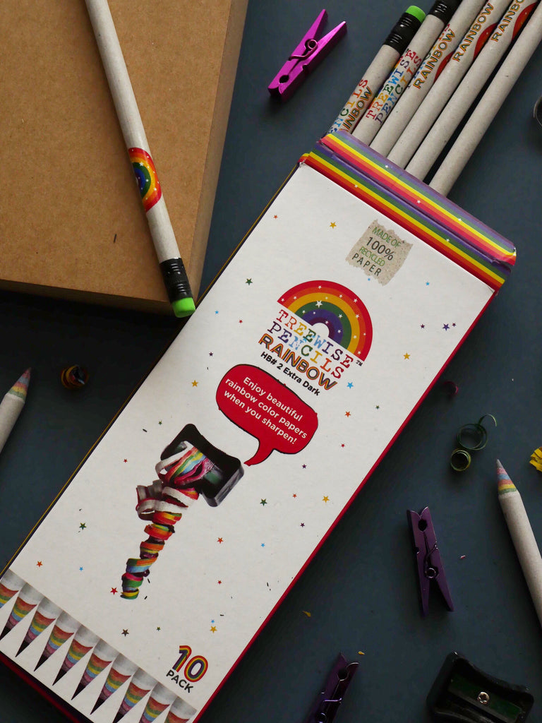 Recycled Newspaper Rainbow Pencils by Treewise / Pack of 10