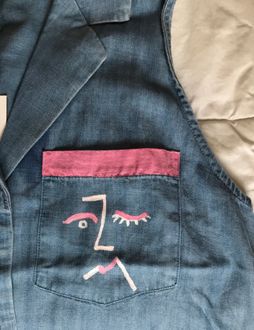Hand Painted Abstract Faces Denim Shirt