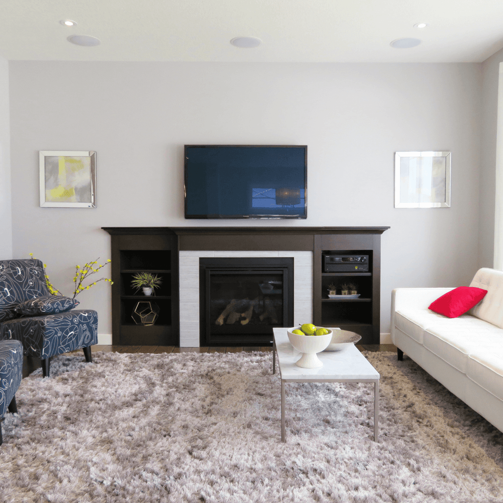 fireplace and a tv