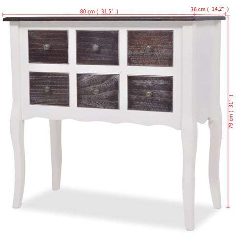 Console Cabinet 6 Drawers Brown and White Wooden