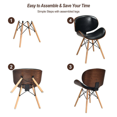 Bentwood Dining Chairs Mid-Century PU Leather Set Of 2