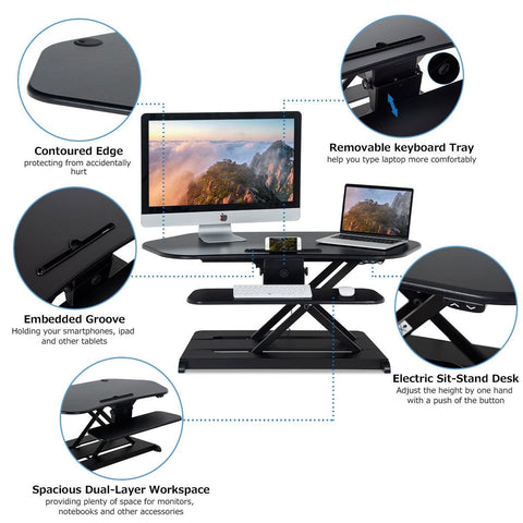 Sit-Stand Electric Height Adjustable Desk-Black