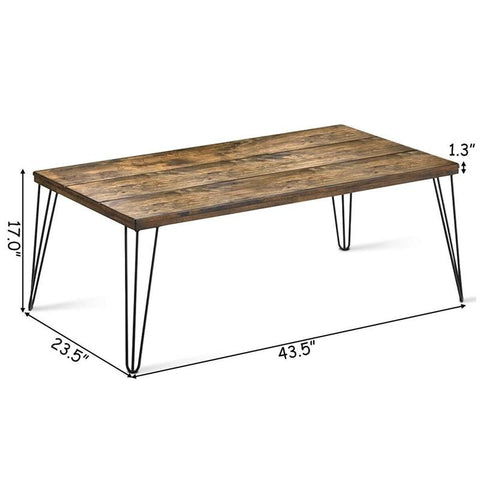 Rustic Look Solid Wood Rectangular Cocktail Coffee Table