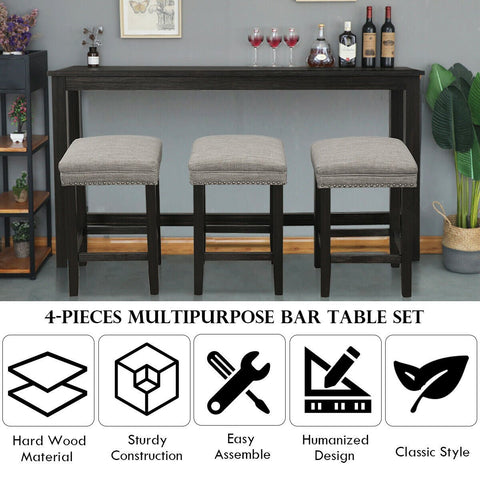Vintage Multifunctional Bar Set With Bar Stools