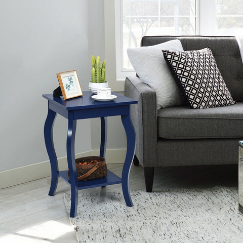 Nightstand End Table Set Of 2 Blue