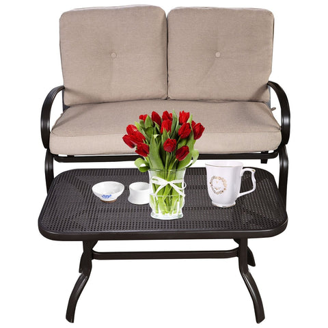 Patio Outdoor Cushioned Coffee Table Set 2Pcs