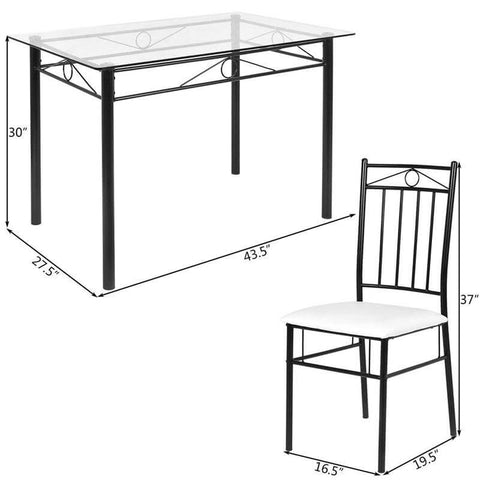 LUCY 5 Pcs Tempered Glass Steel Tabletop With Chairs