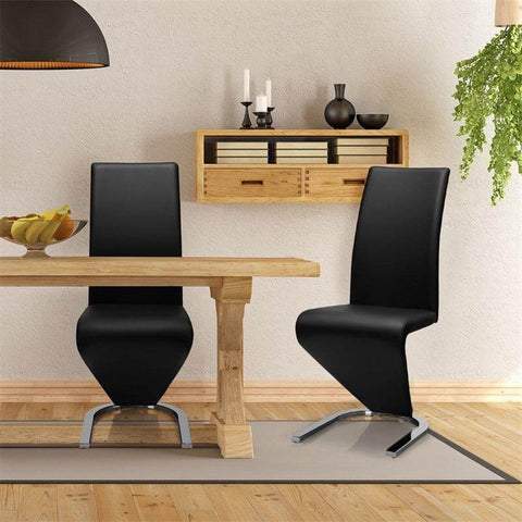 LEXY Modern 2 pcs High Back U-Shaped Leather Dining Chairs