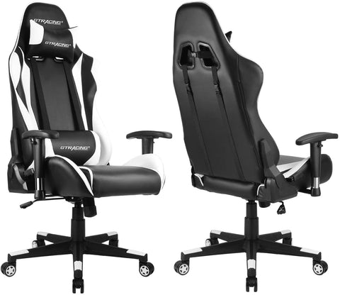 GTRACING Gaming Chair Racing Office Computer Game Chair Ergonomic Backrest and Seat Height Adjustment Recliner Swivel Rocker with Headrest and Lumbar Pillow E-Sports Chair