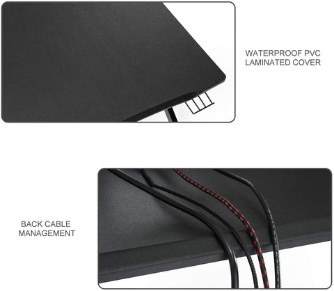 "Mr IRONSTONE Gaming Desk 45.3"" W x 29"" D Home Office Computer Table, Black Gamer Workstation with Cup Holder, Headphone Hook and 2 Cable Management Holes"