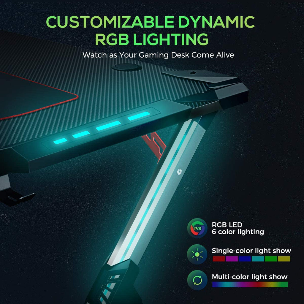 Eureka Ergonomic Gaming Desk With Rgb Lighting Gaming Table 44 5 Pc Vindragon