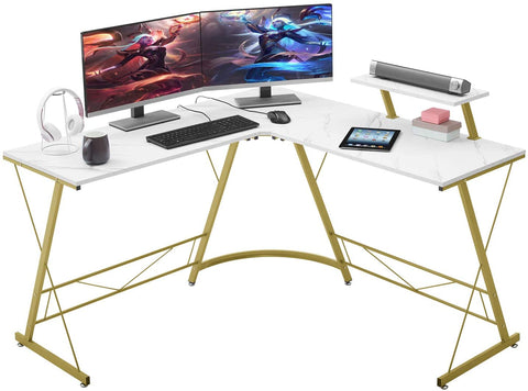"Mr IRONSTONE L-Shaped Desk 50.8"" Computer Corner Desk, Home Gaming Desk, Office Writing Workstation with Large Monitor Stand, Space-Saving, Easy to Assemble"