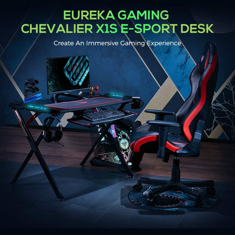 "EUREKA ERGONOMIC X1-S Gaming Computer Desk 44.5"" Gamer Desk PC Table Gaming Desks with LED Lights Large Carbon Fiber Surface Cup Holder Headphone Hook for Men Boyfriend Female Gift"