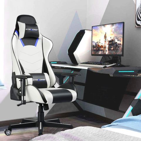 GTRACING Gaming Chair Office Chair High Back Computer Chair PVC Leather Desk Chair PC Racing Executive Ergonomic Adjustable Swivel Task Chair with Headrest and Lumbar Support