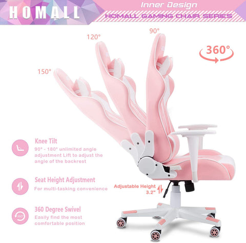Homall Gaming Chair Office Chair High Back Computer Chair PU Leather Desk Chair PC Racing Executive Ergonomic Adjustable Swivel Task Chair with Headrest and Lumbar Support