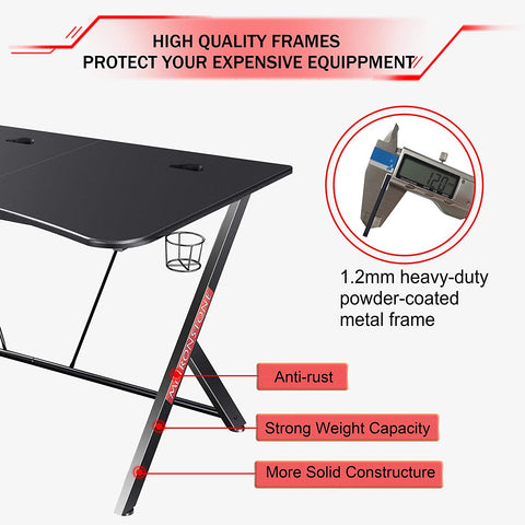 "Mr IRONSTONE Large Gaming Desk 63"" W x 32"" D Home Office Computer Table, Black Gamer Workstation with Cup Holder, Headphone Hook and 3 Cable Management Holes"