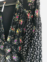 Free People Black Floral Print Full Sleeve Dress or Jacket - Size 12 to 14