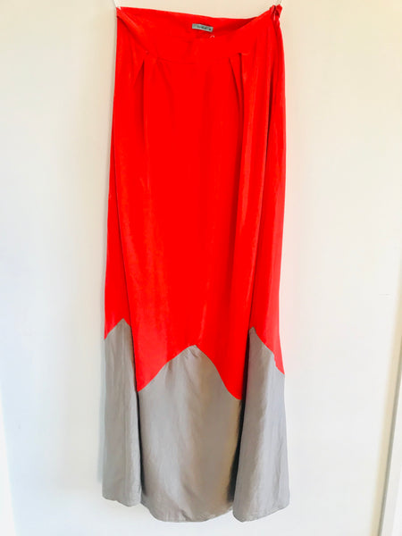 Kookai Silk Orange and Beige Full Length Skirt - Size 10