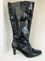 Footloose Black Patent Heeled Boot - Size 42