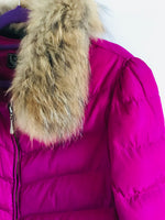 Hot Pink Padded Jacket with Fur Trim - Size 8 to 10