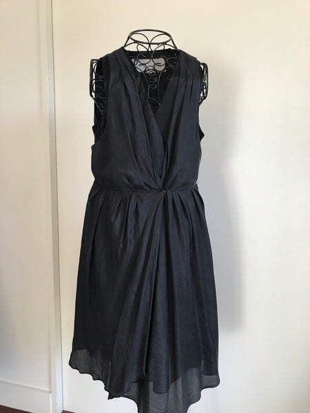 Moda Black Silk Drape Front Dress Size 10