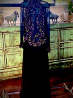 Patricia Rhodes Couture Black Sheer & Sequin Evening Dress - Size 6 USA