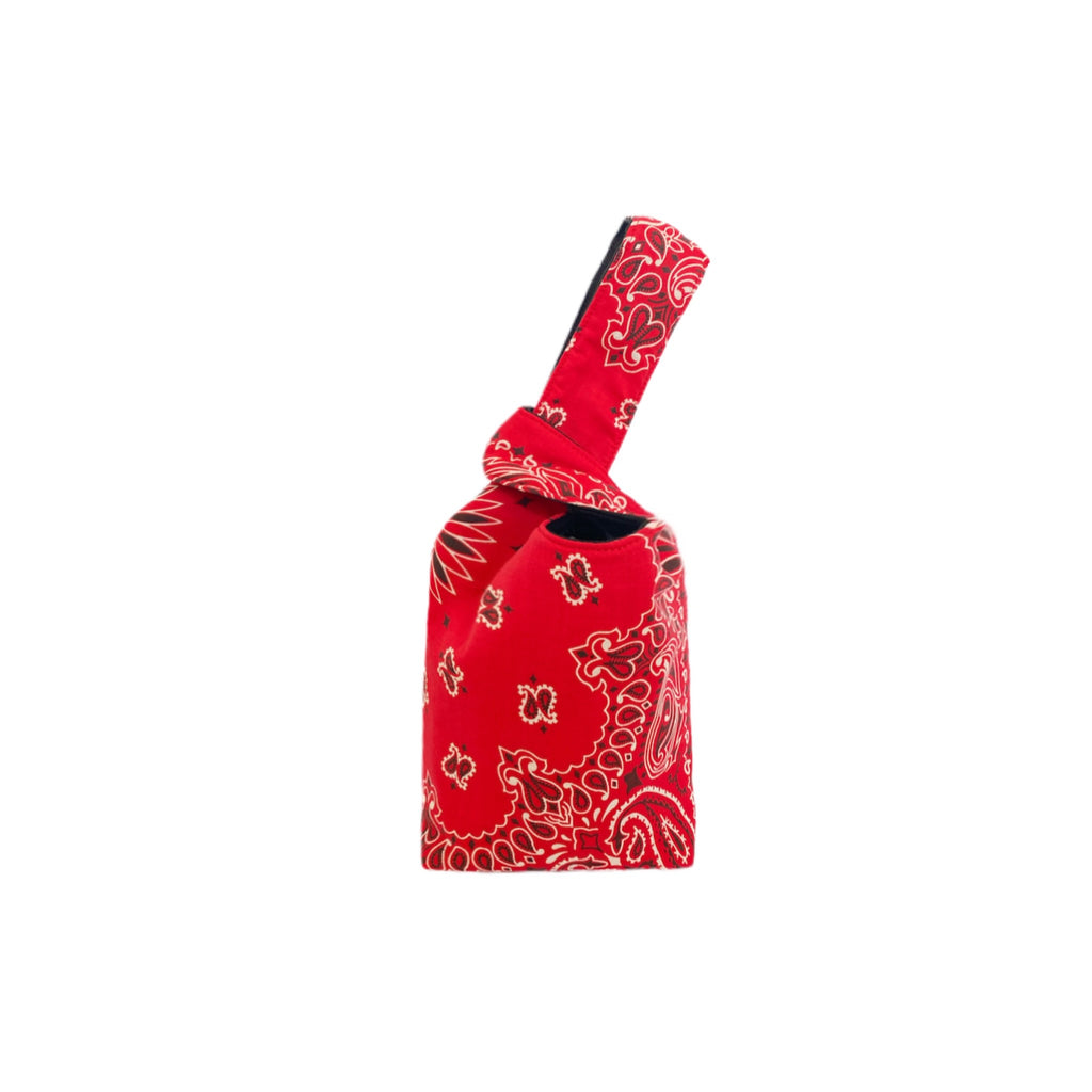 Red Paisley One Handle Knot Bag