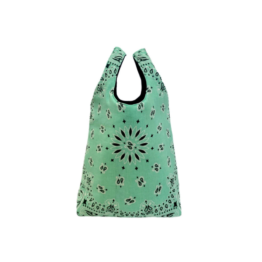 Mint Paisley Shopping Bag