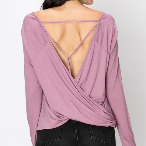Crossover back knit top