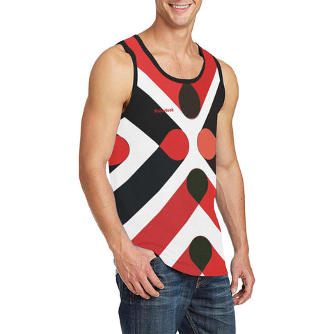 Men's Red and Black  Print Tank Top