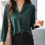 Women chiffon blouse shirt long sleeve
