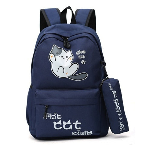 Campus Style Cute Cat Backpacks