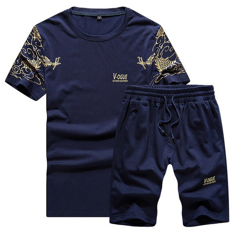 Summer Mens Tracksuit Casual Brand Shorts Sets