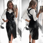 Women Sashes Leather Sexy Dress