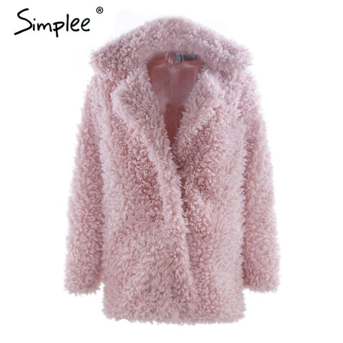 Warm winter faux fur coat women