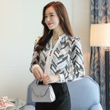 Chiffon women blouse shirt print shirt Long sleeve