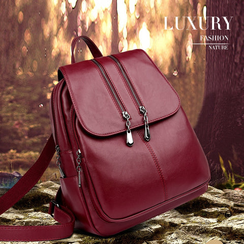 Brand New Laptop Backpack Women Leather